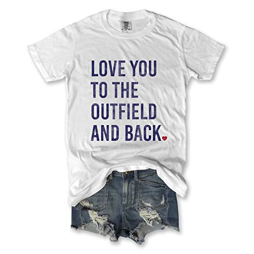 Everfitte Love You to The Outfield and Back Soft Cotton, Pigment Dyed Unisex Baseball Tee, Medium White