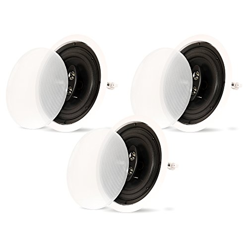 Theater Solutions CS83C In Ceiling 3-Way 8'' Speakers Surround Home Theater 3 Speaker Set by Theater Solutions