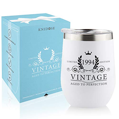 1994 25th Birthday Gifts for Women Men - Splash Proof 12 oz Stainless Steel Wine Tumbler | Funny Gift Ideas for Her Wife Mom Grandma Him Dad | Insulated Wine Glass for Party Decorations (White, 1994)