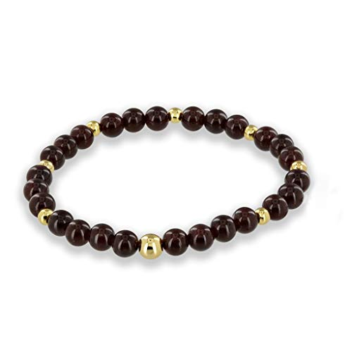 Believe London Garnet Gemstone Bracelet Healing Bracelet Chakra Bracelet Anxiety Crystal Natural Stone Men Women Stress Relief Reiki Yoga Diffuser Semi Precious ()