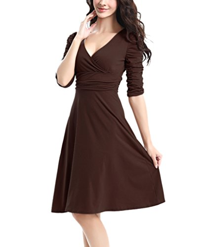 Cute Brown Dress (Aamikast 3/4 Sleeve Ruched Empire Waist Cute V-Neck Casual Cocktail Dress for Women)