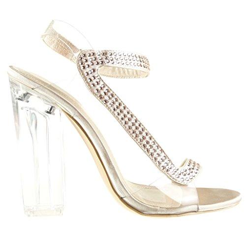 Angkorly - Scarpe da Moda sandali scarpe decollete sexy da sera donna strass trasparente Tacco a blocco tacco alto 12 CM - Champagne