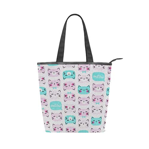 Cutie Pie Cat Pink Canvas Tote Handle Bag Tote bags Shopping Bag Large Travel Bag With Zipper Shoulder Strap Reusable For Shopping and Decorating