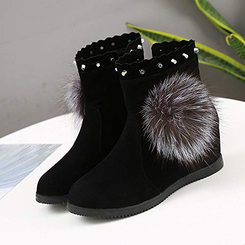 Tube Pure clair Chaussures Garder Hairball Femmes Compenses Couleur Luoluoluo Moyen Noir Chaud Hiver Rond Fermeture Bout Bottes qvnZw7RS