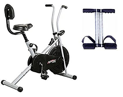 Healthex Exercise Cycle for Weight Loss at Home with Back Support    Air  Bike 1001 with Bonus Tummy Trimmer for Home Use