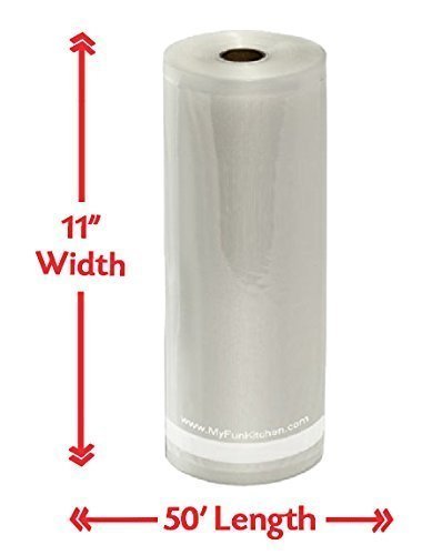 11'' x 50' Vacuum Sealer Roll Commercial Grade No BPA 5 Ply Thick Saver Bags 3.5mil Kitchen Food Storage by My Fun Kitchen