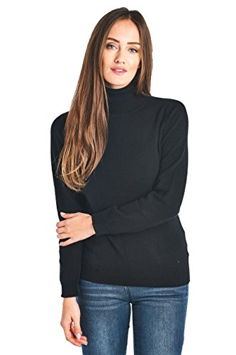 Mariyaab Women's 100% Cashmere Soft Long Sleeve Turtleneck Sweater (1303, Black, L)
