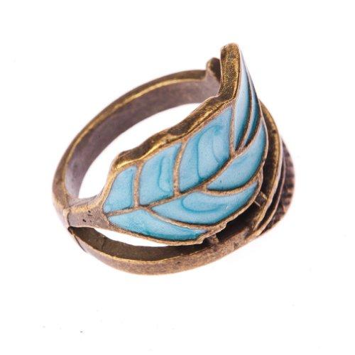 Vintage Boho Style Fashion Bronze & Blue Leaf Winding Wrap Finger Ring
