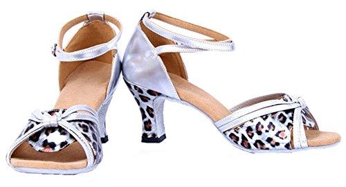 Honeystore Mujeres Straps Knot Leopard Print Zapatos De Baile Plata