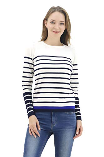 BENANCY Women's Crewneck Striped Long Sleeve Soft Pullover Knit Sweater Tops N Ivory S
