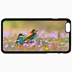 Fashion Unique Design Protective Cellphone Back Cover Case For iPhone 6 Plus Case Birds Field Grass Flowers Blur Black