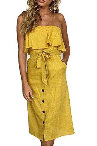 (ioiom Ladies Summer Swing Straight Sundress Strappy Off Shoulder Ruffle White Party Midi Dress Yellow)