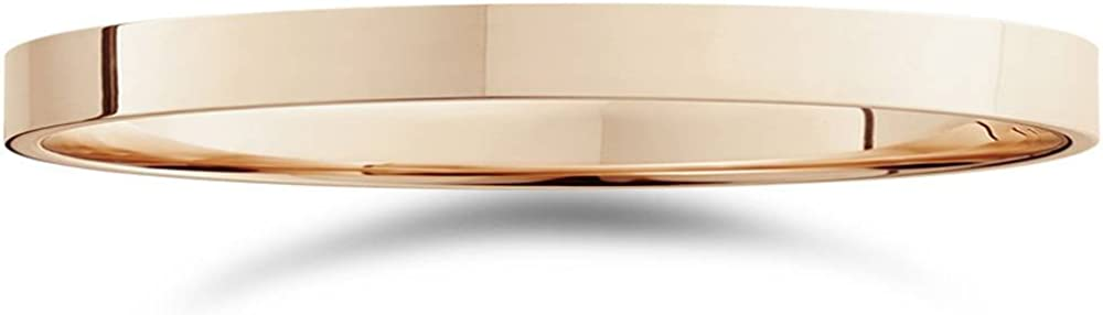 2mm Flat High Polished Wedding Band 14K Rose Gold