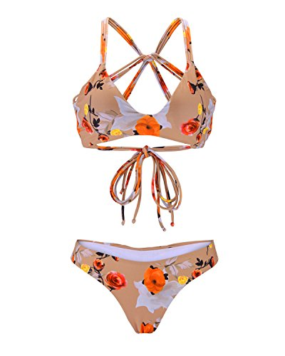 ss Back Bikini Set, Padded Floral Print Brazilian Swimsuit for Women, Bare M ()