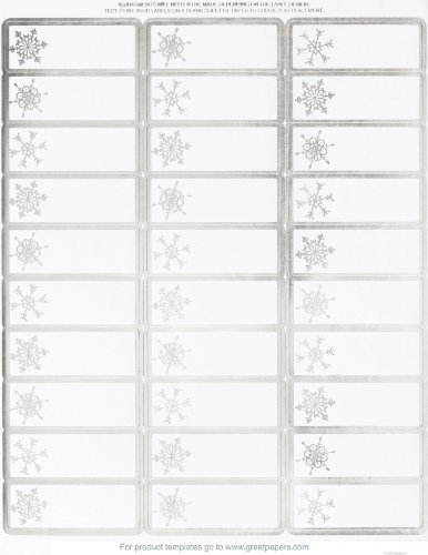 Silver Foil Snowflake Address Labels / Gift Tags - 120 Labels