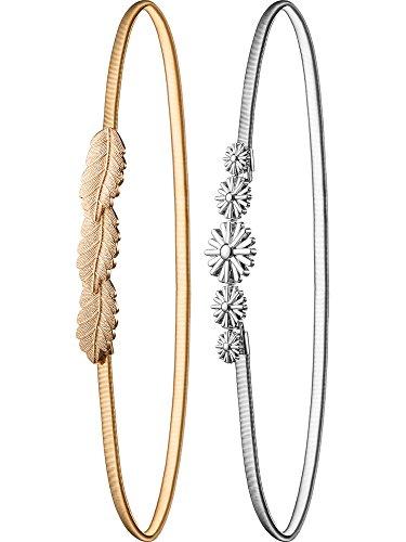 Hestya 2 Pieces Women Skinny Belt Chain Elastic Belts Metal Floral and Leaf Belts Gold Silver Dress Belt - 2 Metal Belt