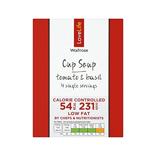 You Count Tomato & Basil Cup Soup Waitrose Love Life 4 x 16.5g - Pack of 4
