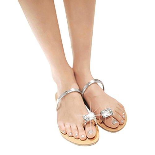 Inkach Mode Femmes Strass Dété Sandales Plates Lanière Pantoufle Chaussures De Plage Sliver