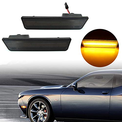 (KE-KE A Set of 2PCS 3D Smoked Lens Amber 24-SMD LED Front Bumper Side Marker Lights Lamps Replacement Kit For 2008-2014 Dodge Challenger (Smoked Lens amber(Front)))