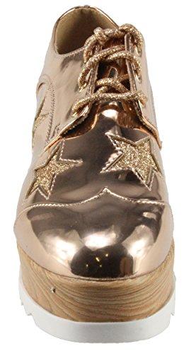Per Sempre Da Donna Besty-02 Con Zeppa Suola Piattaforma Zeppa Scarpe Oxford In Oro Rosa