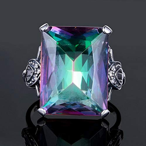 - Tomikko 4.3CT Mystic Rainbow Topaz 925 Silver Ring Women Men Wedding Engagement Size6-10 | Model RNG - 12898 | 6