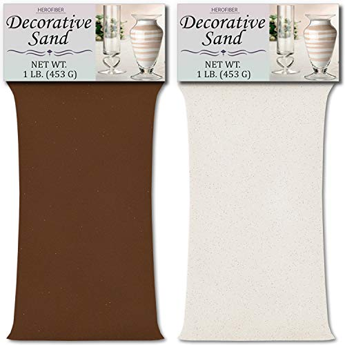 (HeroFiber Colored Unity Sand (2 lbs.) - Brown and White - 1 lb. per Color - Decorative Art Sand for Weddings, Vase Filling, Kids' Craft Play)