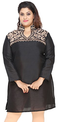 Womens-Embroidered-Long-Plus-Size-Poly-SIlk-Sequins-Indian-Kurtis-Tunic-Top