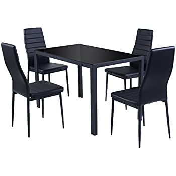 Marvelous Giantex 5 Piece Kitchen Dining Set Glass Metal Table And 4 Chairs Breakfast  Furniture