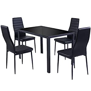 Giantex 5 Piece Kitchen Dining Set Glass Metal Table and 4 Chairs Breakfast Furniture