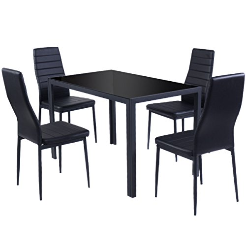 Set dinning desk 5 Piece Kitchen Dining Set Glass Metal Table and 4 Chairs Breakfast Furniture by L-PH