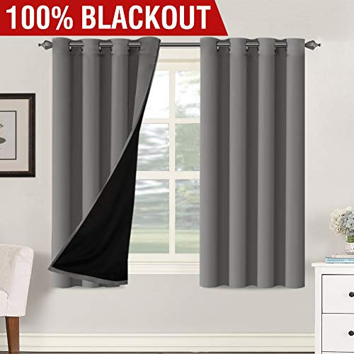 (100% Blackout Window Curtain Panels Full Light Blocking Drapes with Black Liner for Bedroom / Living Room, Blackout Curtains 63 Length Primitive Country Decor Thermal Insulated (Grey, Sold by Pair))