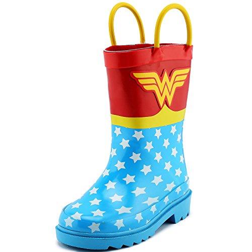DC Comics Children's Girls' Wonder Woman Printed Waterproof Easy-On Rubber Rain Boots (Toddler/Little - Sale Socks Dc On