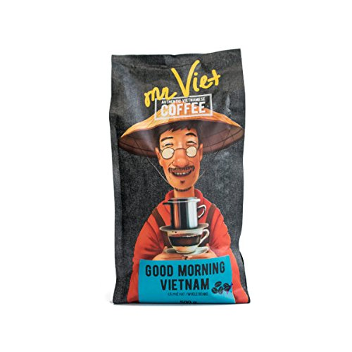Mr Viet Good Morning Vietnam Coffee Beans 100% | Fresh and Promptly Delivered from Vietnam - Roasted Authentic Vietnamese Coffee, Suitable for All Coffee Machines ()