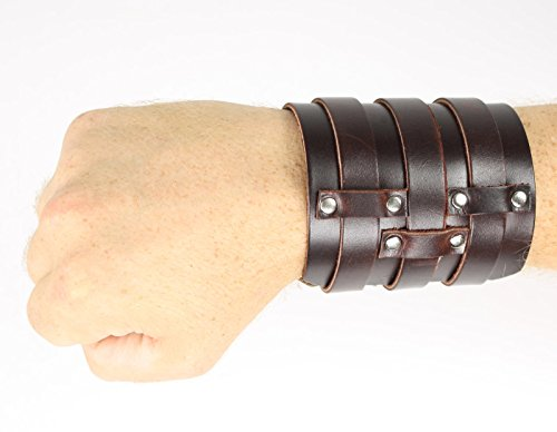 Largemouth 3 Strap Leather Wristband Costume Accessory (Brown)