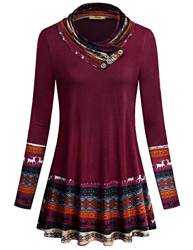 Miusey Tunic Sweatshirt,Women Contrast Long Sleeve Casual Loose Button Cowl Neck Fashion Chic Reindeer Print Fall Designer Clothes Feminine Leisure Stitch Shirt Wine Red XL