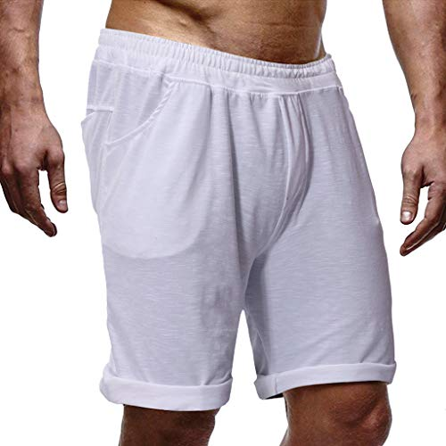 Men's Shorts Pure Color Jogging Running Sports Breathable Fitness Shorts Pant Cargo Short Beach Shorts White]()