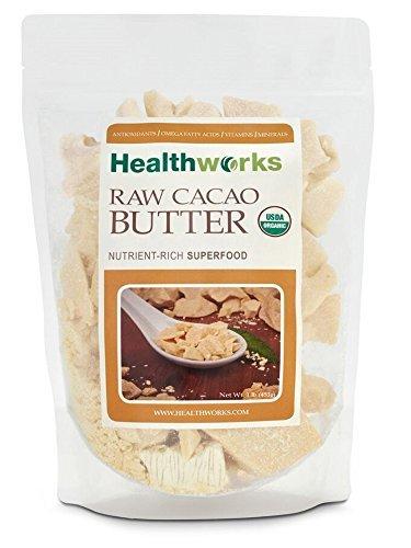 Healthworks Cacao Butter, Organic Unrefined Non-deodorized, 1lb