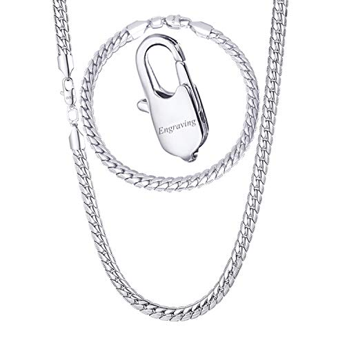 (U7 Men Jewelry Set 18KGP Stamp Platinum Plated Snake Chain Link Bracelet & Necklace (8.3