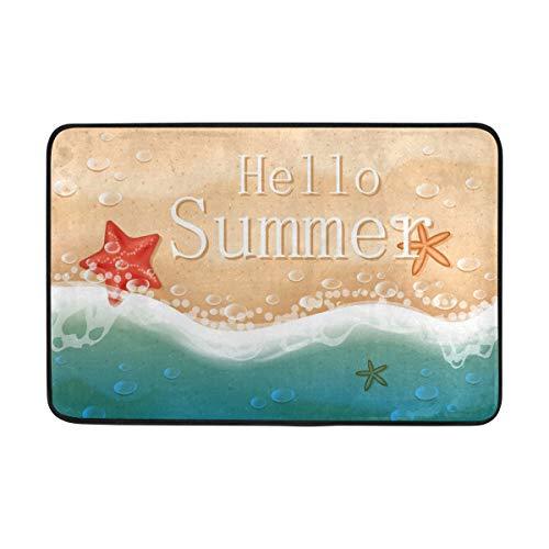 LEISISI Hello Summer Beach Doormat for indoor outdoor Entry Way Non-slip Mat 23.6x15.7 inch -