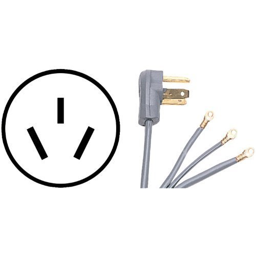 Certified Appliance 90-1080 3-Wire Range Cords (Closed Eyelet) (4-ft 50A) by Certified Appliance