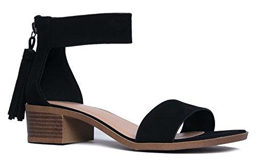 (J. Adams Midori Low Ankle Strap Tassel Heel, Black NBPU, 9 B(M) US)