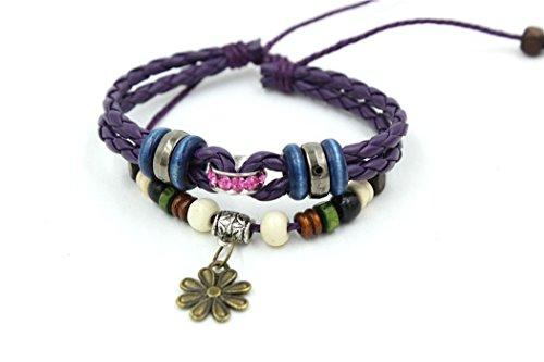 Price comparison product image November's Chopin (TM) Unique Flower Button Purple Leather Adjustable Wrap Bracelet