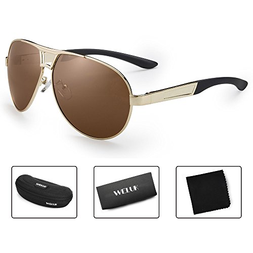 Brown Face - WELUK Oversized Mens Aviator Sunglasses Polarized 63mm Driving UV400 Protection (Gold & Brown, 63)