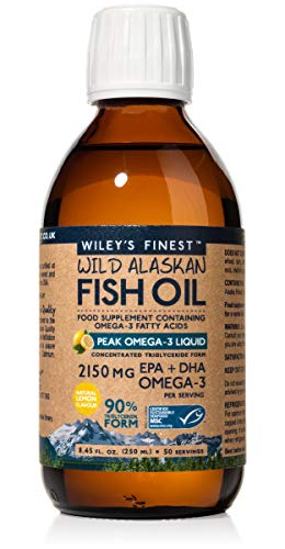 Wiley's Finest Peak Omega-3 Liquid 2150mg EPA + DHA Omega-3 Natural Wild Alaskan Fish Oil Supplement 50 Servings (Salmon Finest)