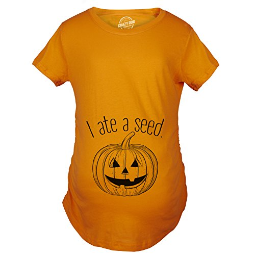 Maternity I Ate A Seed Pregnancy Tshirt Funny Halloween Jack-O-Lantern Tee for Bump (Jack Maternity T-shirt)