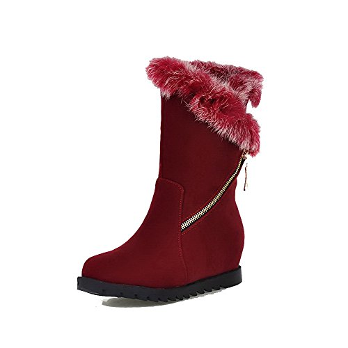 AgooLar Women's Pull-on Round Closed Toe Kitten-Heels Imitated Suede Low-top Boots Red ps6JSd
