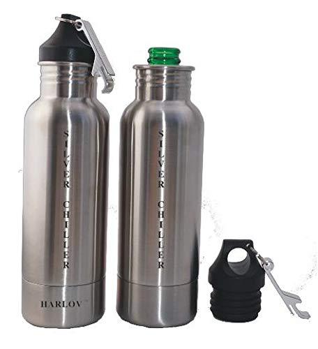 Harlov SILVER CHILLER Stainless Steel Beverage Cooler with Neoprene Insulation to Keep Your Favorite Long Neck Bottle Beverage Cold (1 Bottle Beverage Cooler Per Order) (Stainless Steel Black) ()