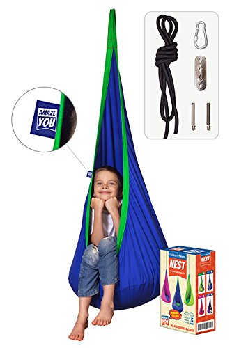 AMAZEYOU Kids Swing Hammock Pod Chair – Child s Rope Hanging Sensory Seat Nest Indoor Outdoor Use Inflatable Pillow – Great Children, All Accessories Included Blue