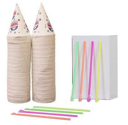 200 Snow Cone Cups 6 Oz and 200 Spoon Straws (Accessories Cone Sno)