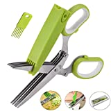 Herb Scissors by Highgradelife - Stainless Steel 5 Blades Multipurpose Kitchen Shears with Safety Cover and Cleaning Comb - Cutter/Chopper / Mincer for Herbs - Kitchen Gadget